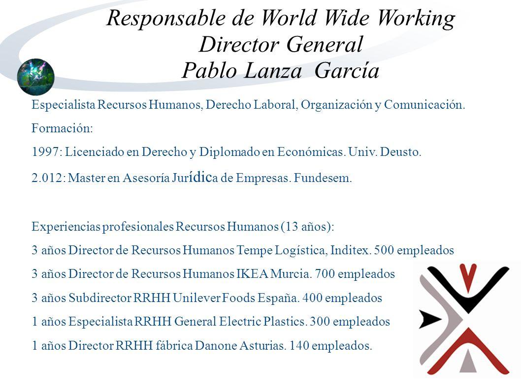 Responsable de World Wide Working Director General Pablo Lanza García Especialista Recursos Humanos, Derecho Laboral, Organización y Comunicación.