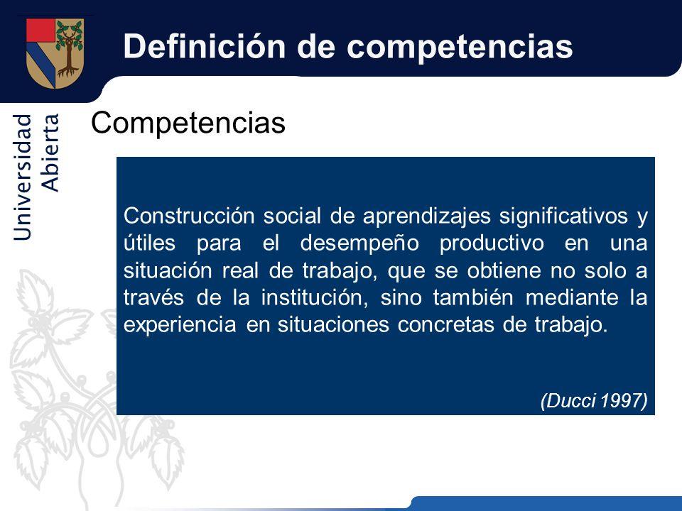 Universidad Abierta Definición de competencias Competencias Construcción social de aprendizajes significativos y útiles para el desempeño productivo e