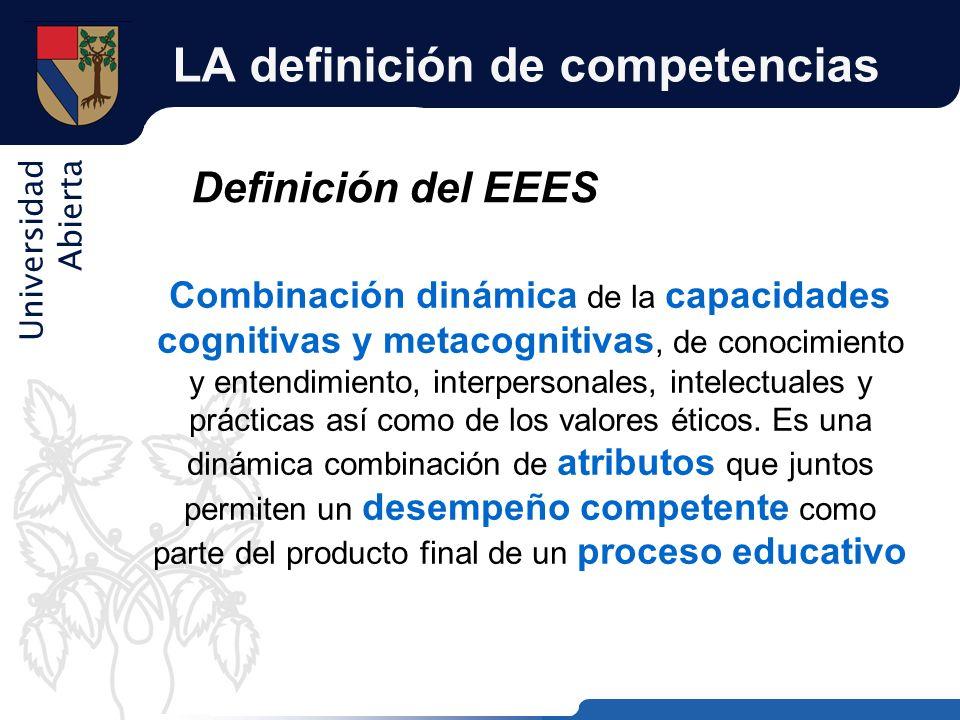 Universidad Abierta LA definición de competencias Definición del EEES Combinación dinámica de la capacidades cognitivas y metacognitivas, de conocimie