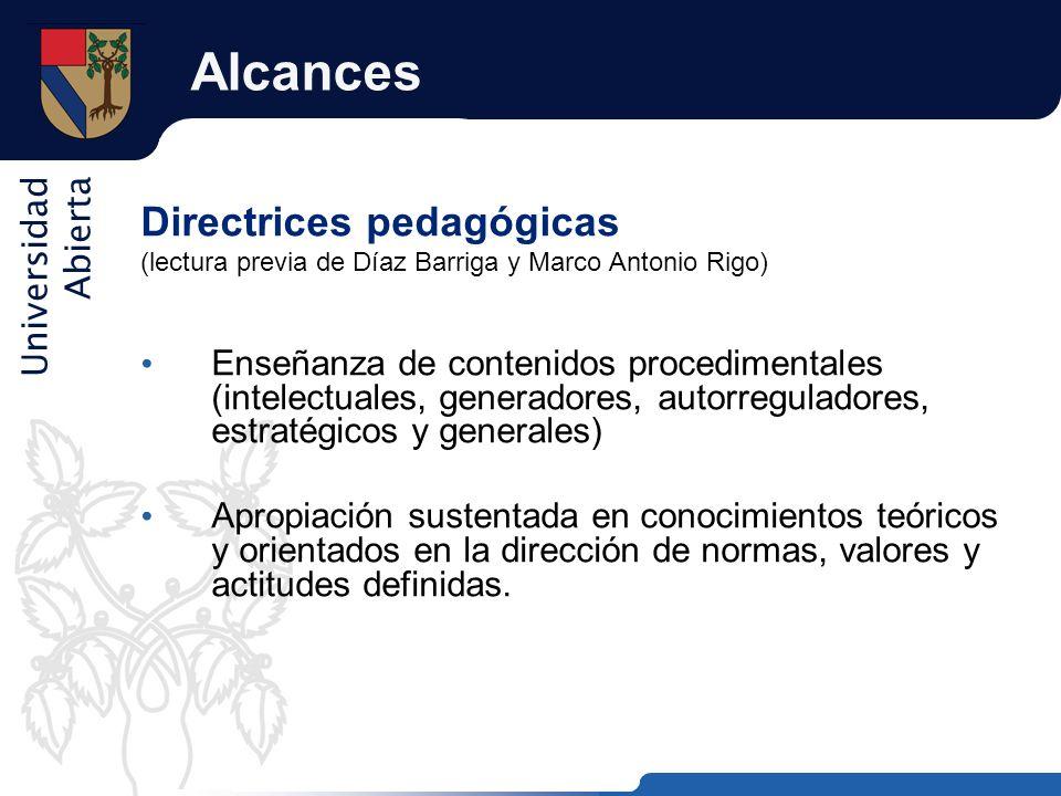 Universidad Abierta Alcances Directrices pedagógicas (lectura previa de Díaz Barriga y Marco Antonio Rigo) Enseñanza de contenidos procedimentales (in