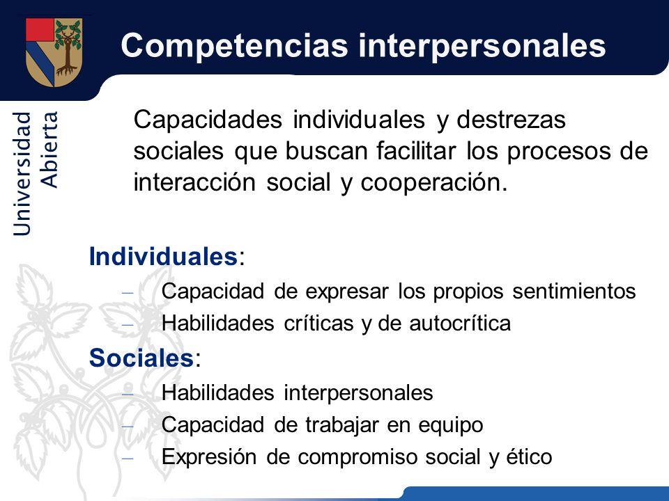 Universidad Abierta Competencias interpersonales Capacidades individuales y destrezas sociales que buscan facilitar los procesos de interacción social