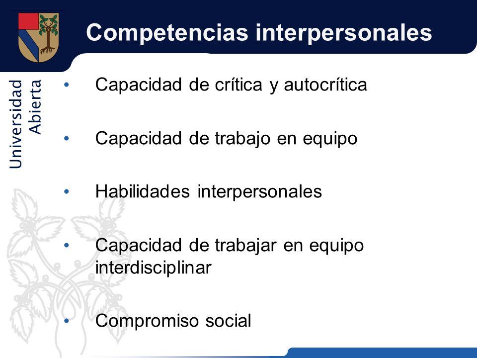 Universidad Abierta Competencias interpersonales Capacidad de crítica y autocrítica Capacidad de trabajo en equipo Habilidades interpersonales Capacid