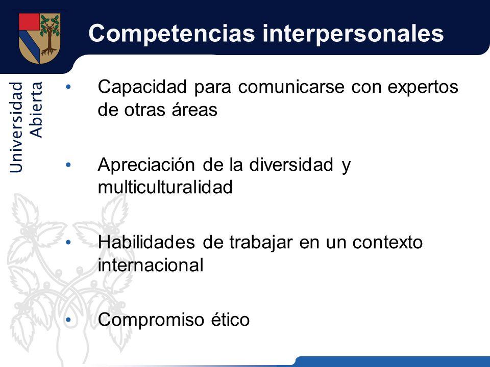 Universidad Abierta Competencias interpersonales Capacidad para comunicarse con expertos de otras áreas Apreciación de la diversidad y multiculturalid