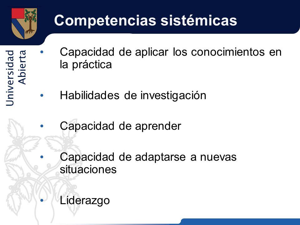 Universidad Abierta Competencias sistémicas Capacidad de aplicar los conocimientos en la práctica Habilidades de investigación Capacidad de aprender C