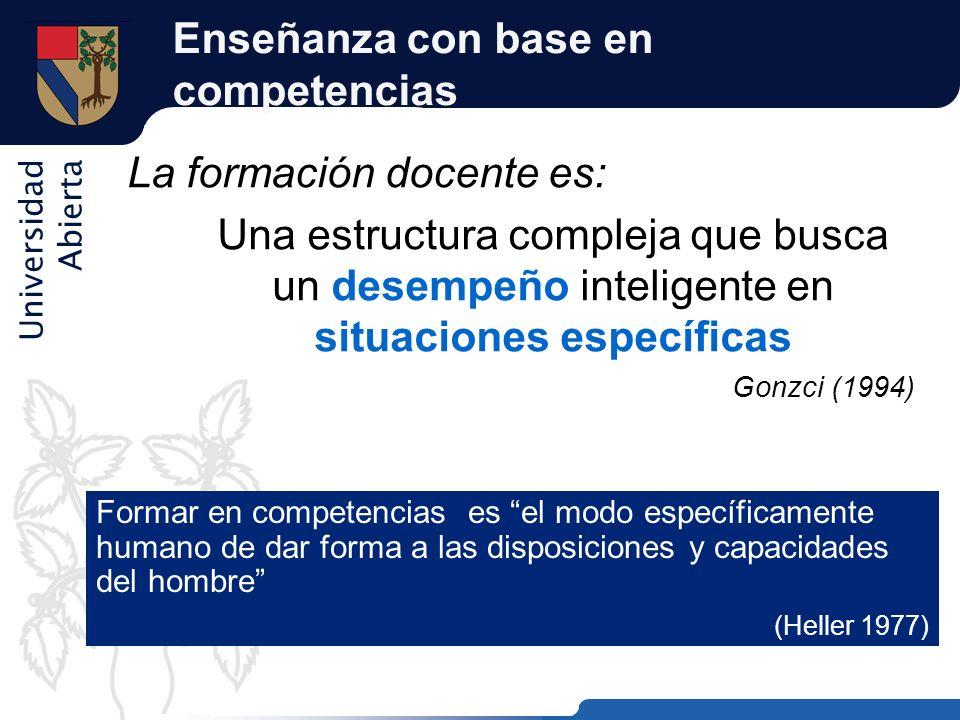 Universidad Abierta Enseñanza con base en competencias La formación docente es: Una estructura compleja que busca un desempeño inteligente en situacio
