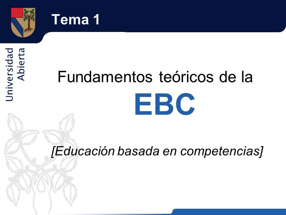 Universidad Abierta Tema 1 Fundamentos teóricos de la EBC [Educación basada en competencias]