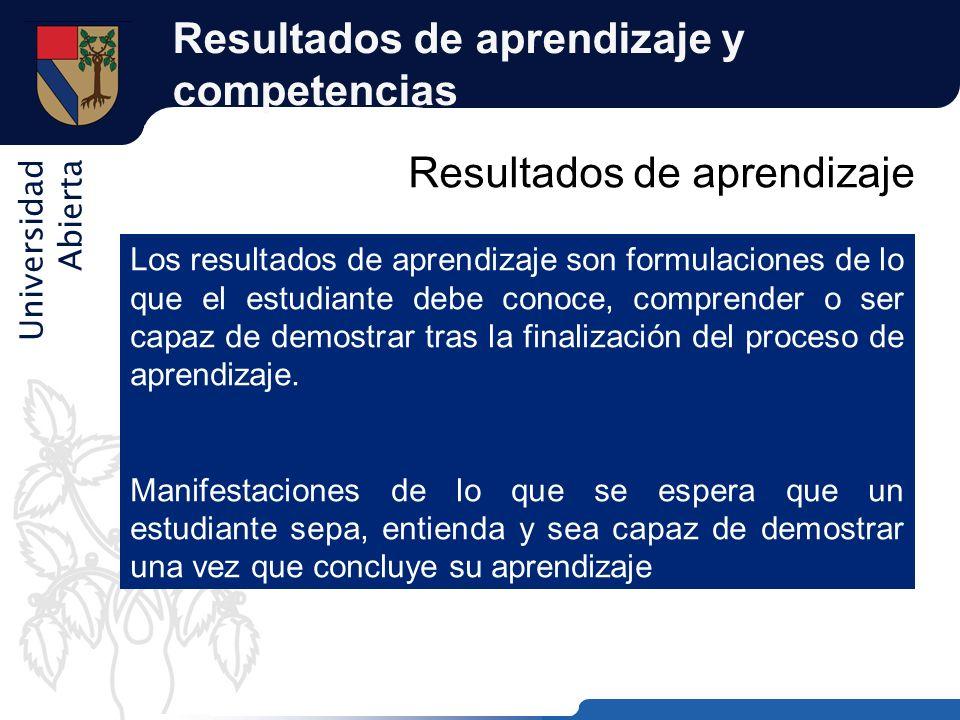 Universidad Abierta Resultados de aprendizaje y competencias Resultados de aprendizaje Los resultados de aprendizaje son formulaciones de lo que el es