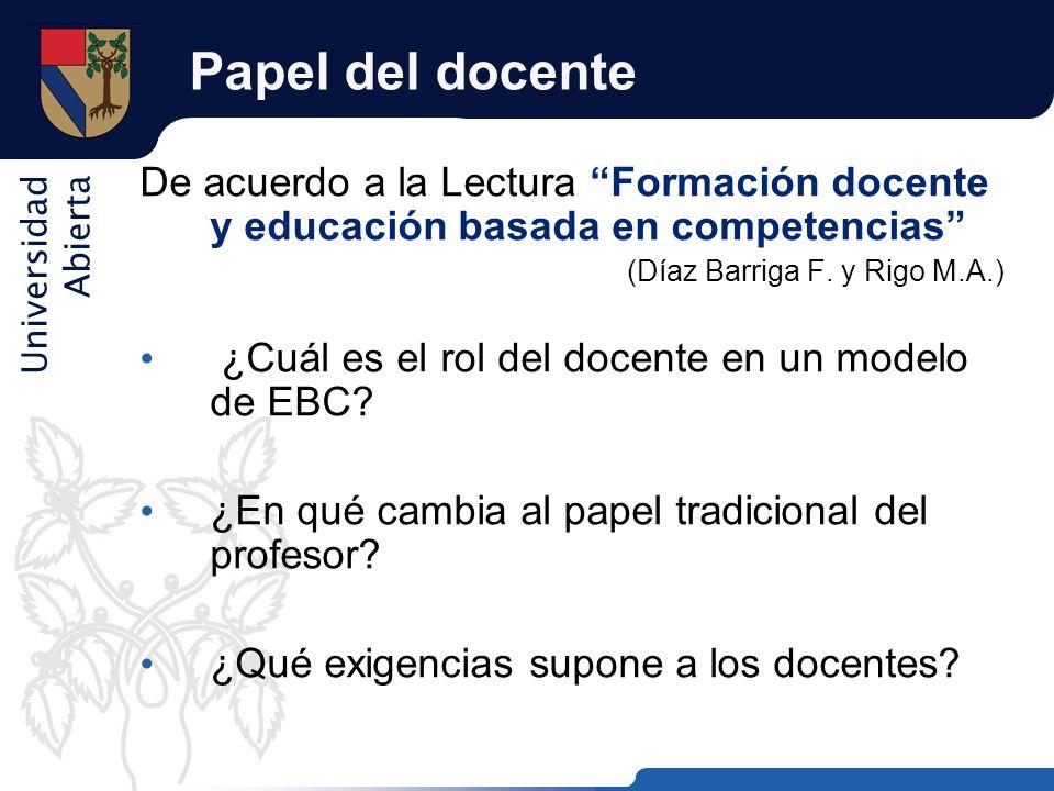 Universidad Abierta Papel del docente De acuerdo a la Lectura Formación docente y educación basada en competencias (Díaz Barriga F. y Rigo M.A.) ¿Cuál