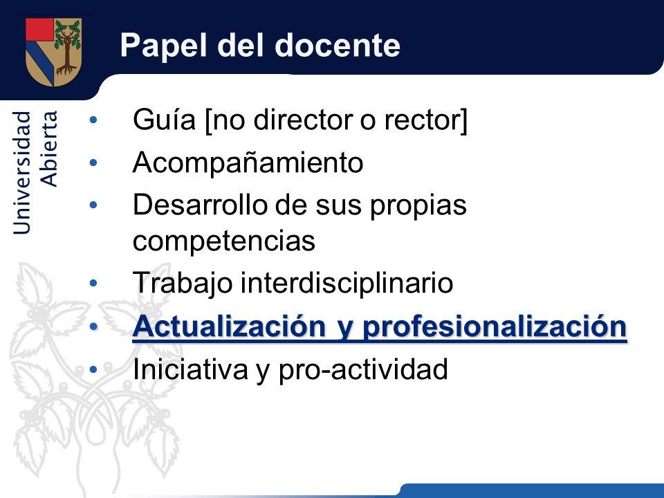 Universidad Abierta Papel del docente Guía [no director o rector] Acompañamiento Desarrollo de sus propias competencias Trabajo interdisciplinario Act