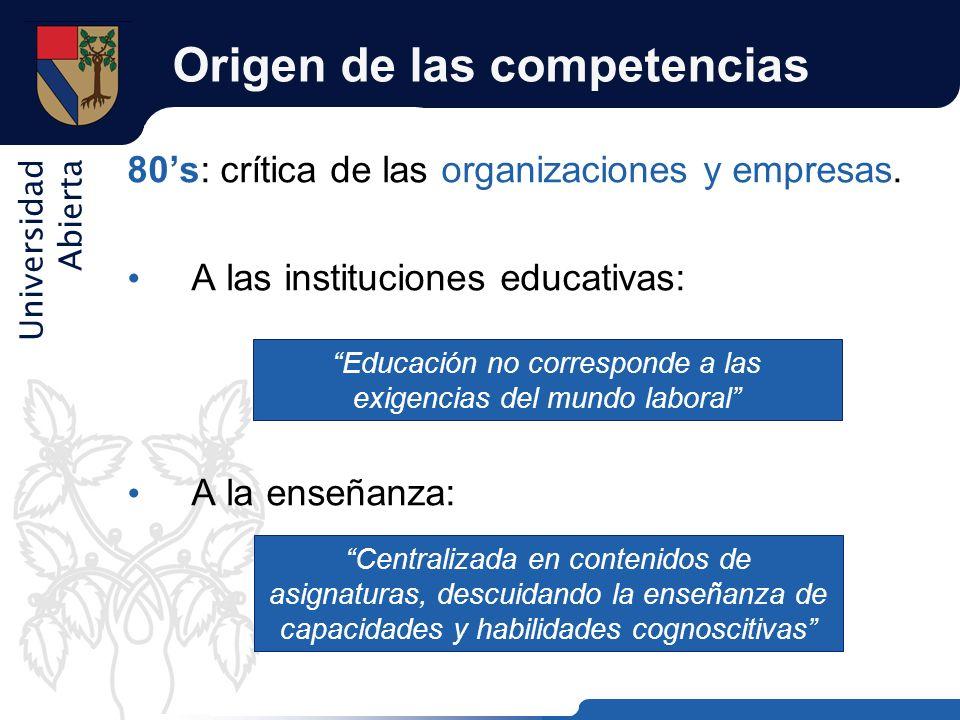 Universidad Abierta Origen de las competencias 80s: crítica de las organizaciones y empresas. A las instituciones educativas: A la enseñanza: Educació