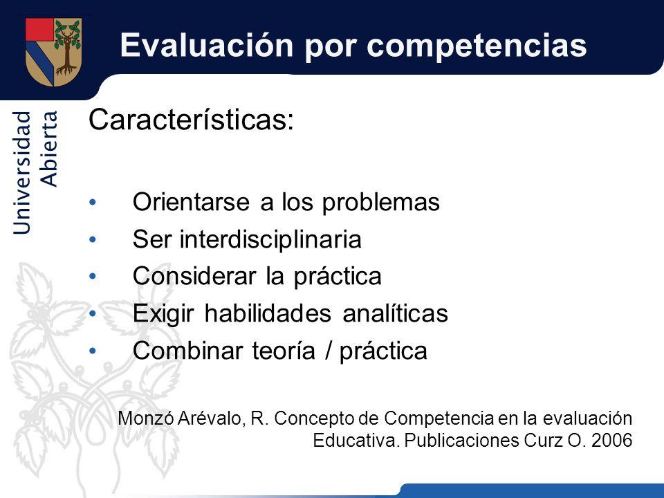 Universidad Abierta Evaluación por competencias Características: Orientarse a los problemas Ser interdisciplinaria Considerar la práctica Exigir habil