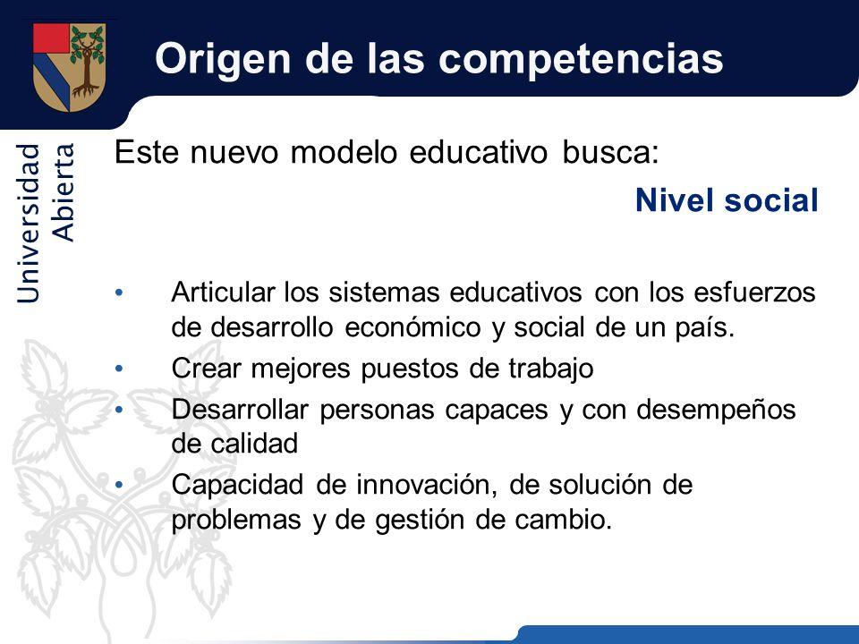 Universidad Abierta Origen de las competencias Este nuevo modelo educativo busca: Nivel social Articular los sistemas educativos con los esfuerzos de