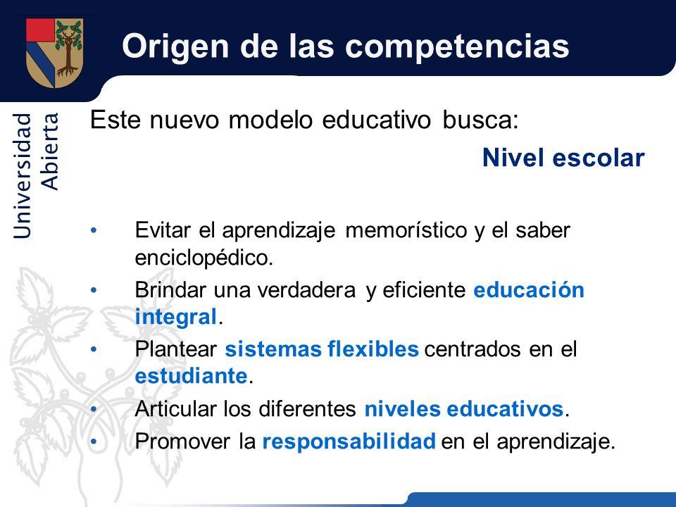 Universidad Abierta Origen de las competencias Este nuevo modelo educativo busca: Nivel escolar Evitar el aprendizaje memorístico y el saber enciclopé