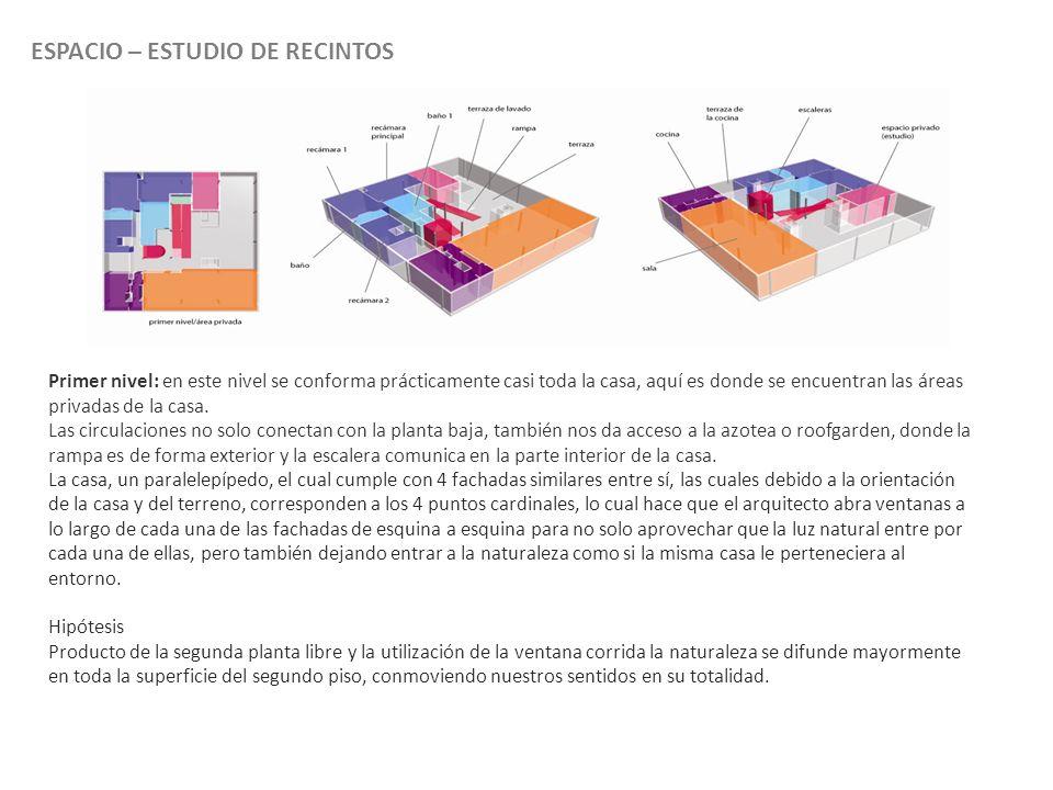 ESPACIO – ESTUDIO DE RECINTOS Primer nivel: en este nivel se conforma prácticamente casi toda la casa, aquí es donde se encuentran las áreas privadas de la casa.