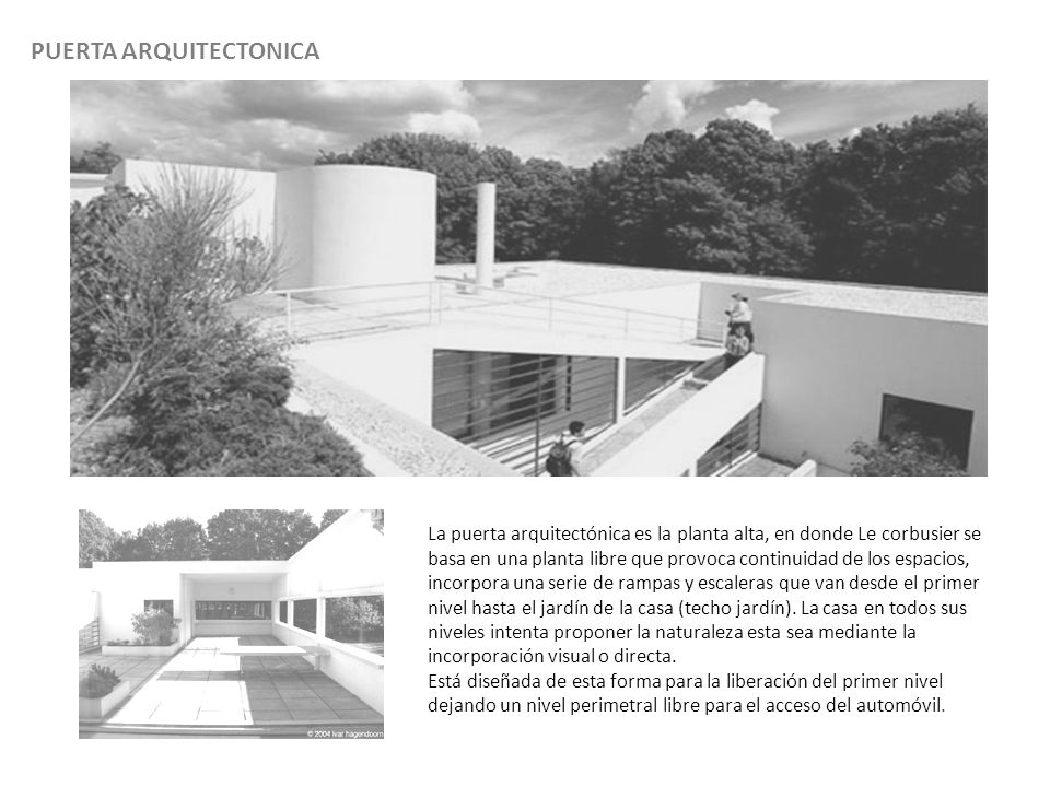 PUERTA ARQUITECTONICA La puerta arquitectónica es la planta alta, en donde Le corbusier se basa en una planta libre que provoca continuidad de los espacios, incorpora una serie de rampas y escaleras que van desde el primer nivel hasta el jardín de la casa (techo jardín).