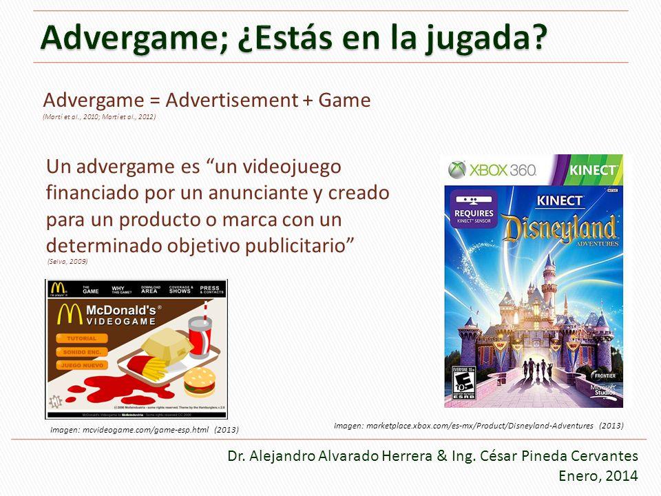 Advergame = Advertisement + Game (Martí et al., 2010; Martí et al., 2012) Un advergame es un videojuego financiado por un anunciante y creado para un