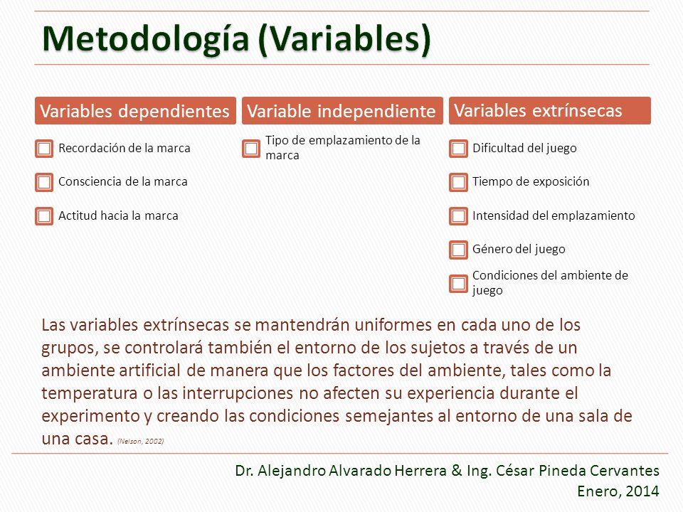 Las variables extrínsecas se mantendrán uniformes en cada uno de los grupos, se controlará también el entorno de los sujetos a través de un ambiente a