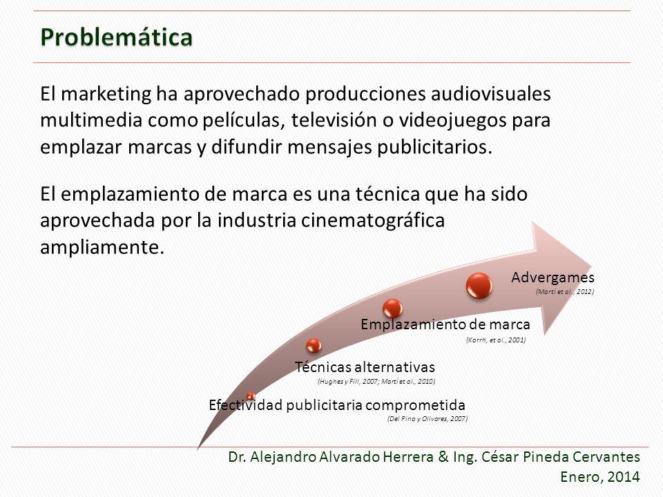 Efectividad publicitaria comprometida Técnicas alternativas Emplazamiento de marca Advergames (Martí et al., 2012) El marketing ha aprovechado producc