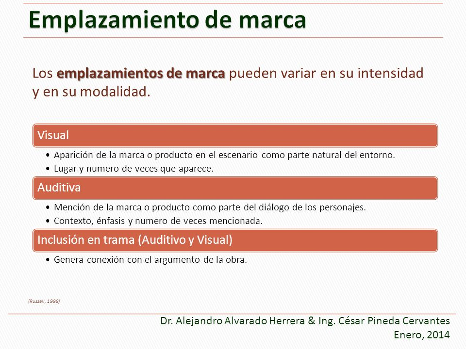 emplazamientos de marca Los emplazamientos de marca pueden variar en su intensidad y en su modalidad. (Russell, 1998) Dr. Alejandro Alvarado Herrera &