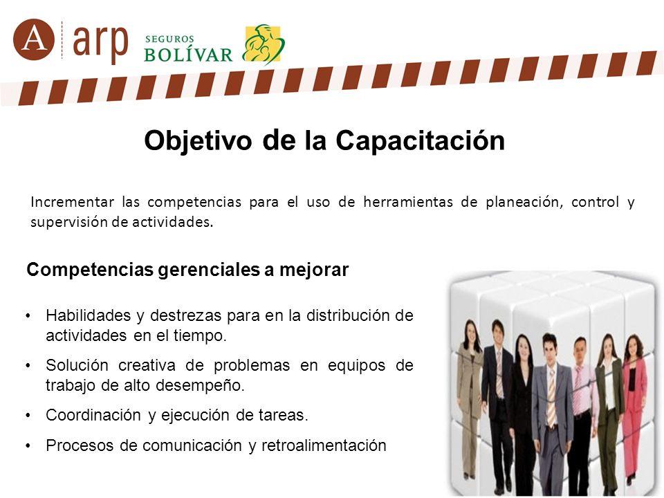 Objetivo de la Capacitación Incrementar las competencias para el uso de herramientas de planeación, control y supervisión de actividades. Habilidades