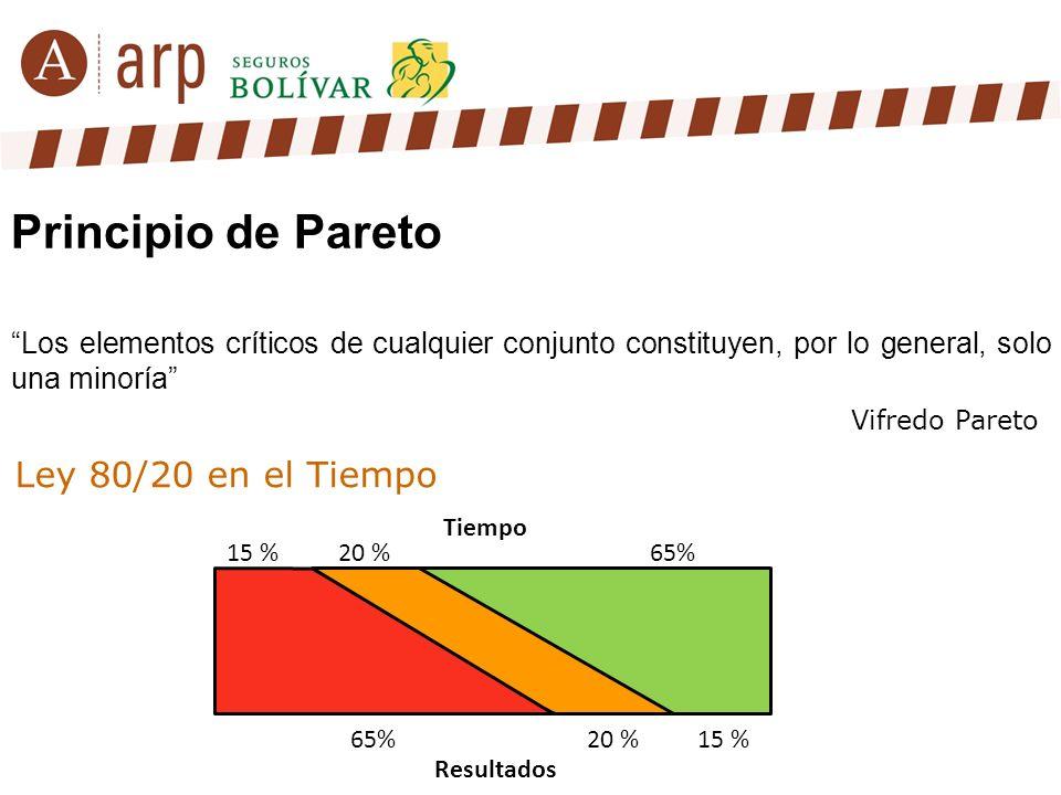 Principio de Pareto Los elementos críticos de cualquier conjunto constituyen, por lo general, solo una minoría Vifredo Pareto Tiempo 15 % 65% 20 % 15