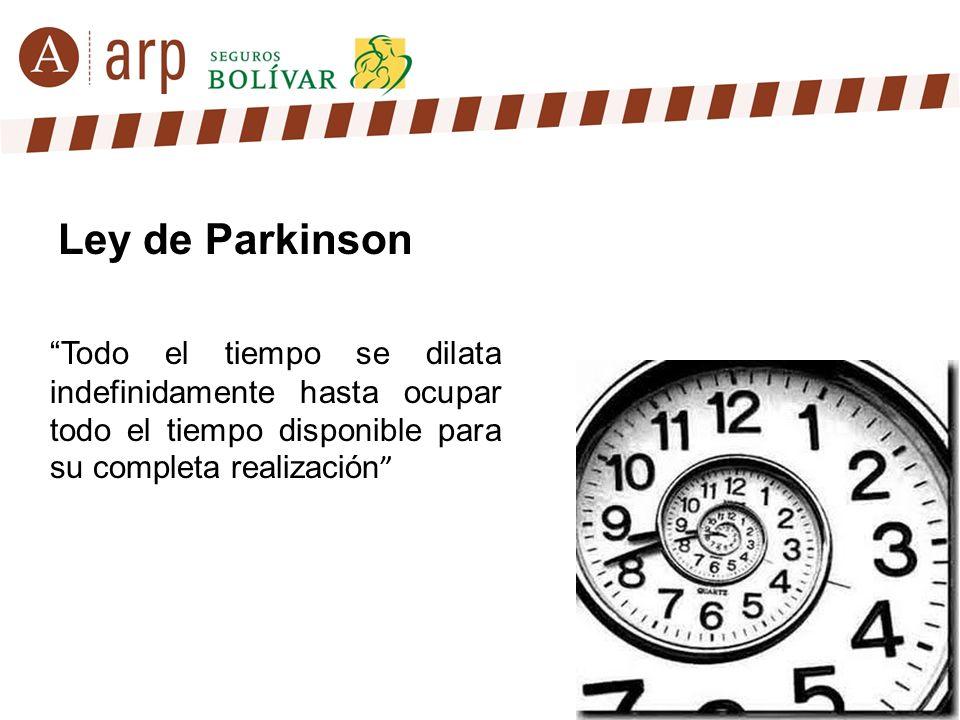 Todo el tiempo se dilata indefinidamente hasta ocupar todo el tiempo disponible para su completa realización Ley de Parkinson