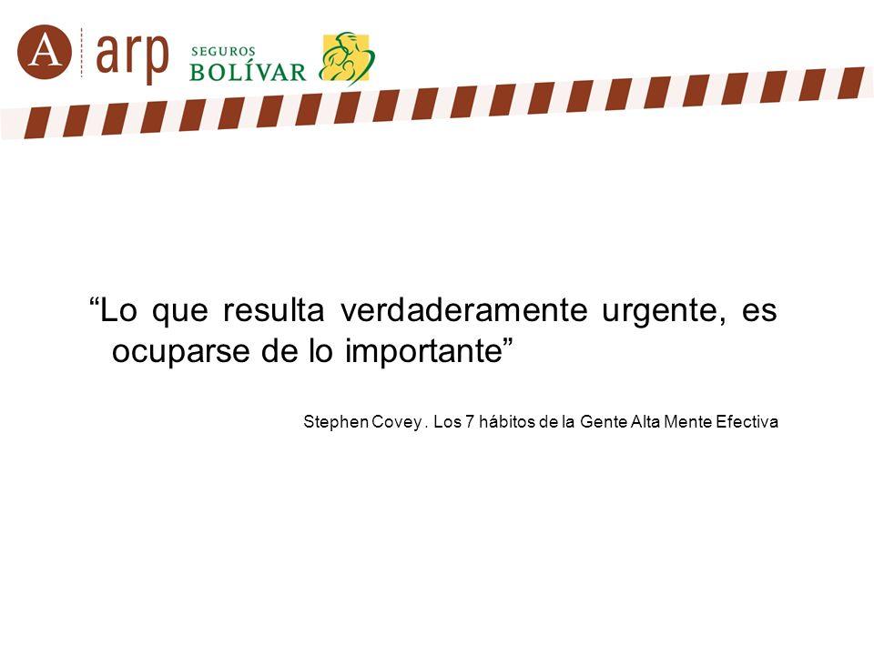 Lo que resulta verdaderamente urgente, es ocuparse de lo importante Stephen Covey. Los 7 hábitos de la Gente Alta Mente Efectiva