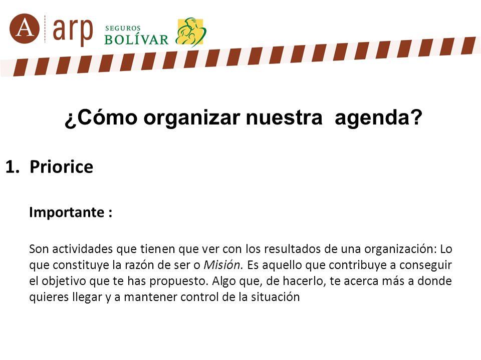 1. Priorice ¿Cómo organizar nuestra agenda? Importante : Son actividades que tienen que ver con los resultados de una organización: Lo que constituye