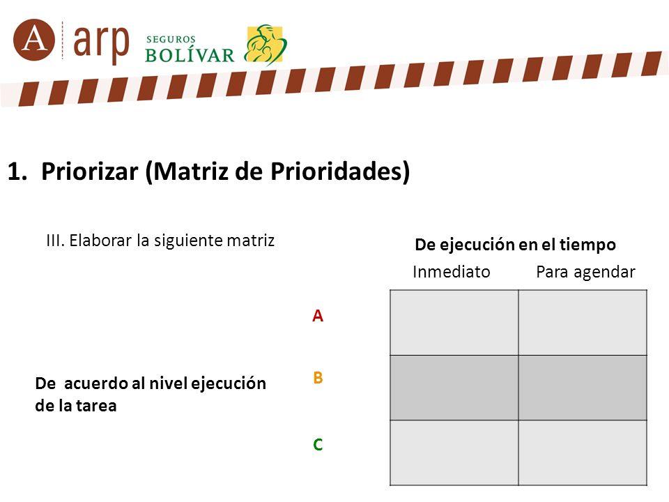 1. Priorizar (Matriz de Prioridades) III. Elaborar la siguiente matriz InmediatoPara agendar A B C De ejecución en el tiempo De acuerdo al nivel ejecu