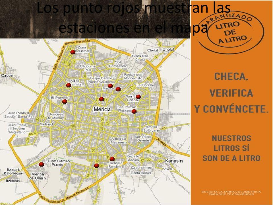 Los punto rojos muestran las estaciones en el mapa