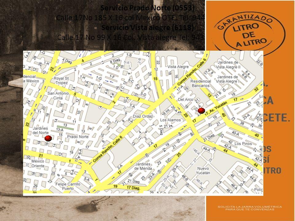 Servicio Prado Norte (0553) Calle 17No 185 X 16 col México OTE.