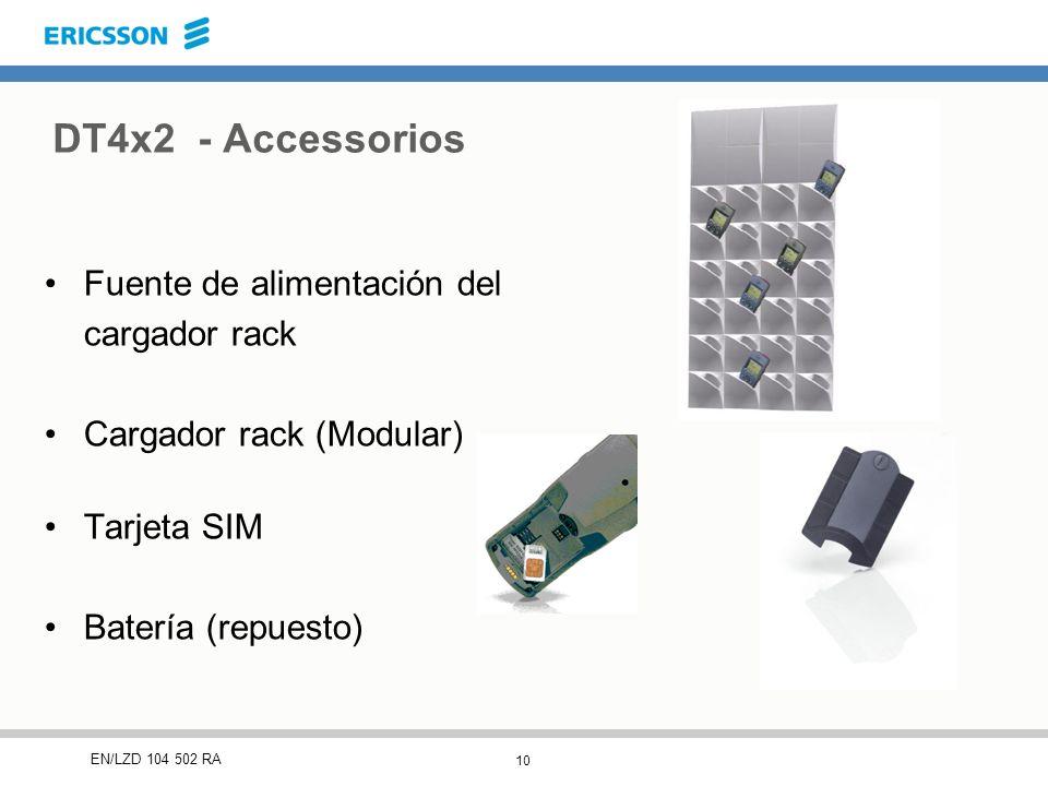 10 EN/LZD 104 502 RA Fuente de alimentación del cargador rack Cargador rack (Modular) Tarjeta SIM Batería (repuesto) DT4x2 - Accessorios