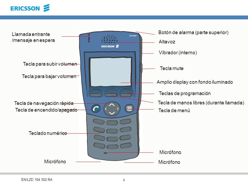 4 EN/LZD 104 502 RA Llamada entrante /mensaje en espera Tecla para subir volumen Tecla para bajar volumen Tecla de navegación rápida Tecla de encendido/apagado Teclado numérico Micrófono Tecla de menú Tecla de manos libres (durante llamada) Amplio display con fondo iluminado Teclas de programación Tecla mute Vibrador (interno) Altavoz Botón de alarma (parte superior)