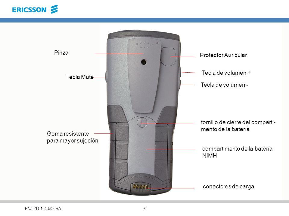 5 EN/LZD 104 502 RA Pinza Tecla Mute Goma resistente para mayor sujeción Protector Auricular Tecla de volumen + Tecla de volumen - tornillo de cierre del comparti- mento de la batería compartimento de la batería NIMH conectores de carga