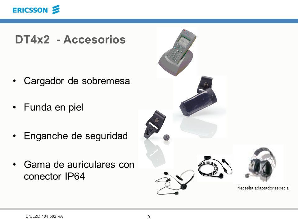 9 EN/LZD 104 502 RA Cargador de sobremesa Funda en piel Enganche de seguridad Gama de auriculares con conector IP64 DT4x2 - Accesorios Necesita adaptador especial