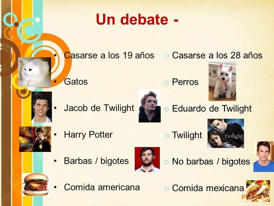 Free Powerpoint Templates Page 14 Un debate - Casarse a los 19 años Gatos Jacob de Twilight Harry Potter Barbas / bigotes Comida americana Casarse a l
