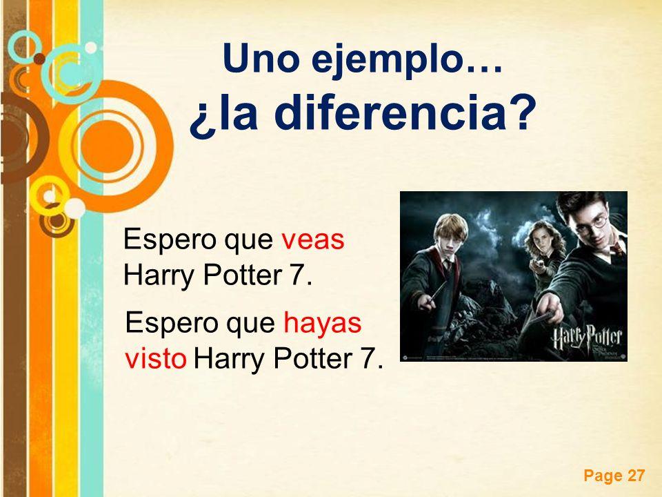 Free Powerpoint Templates Page 27 Uno ejemplo… ¿la diferencia? Espero que veas Harry Potter 7. Espero que hayas visto Harry Potter 7.