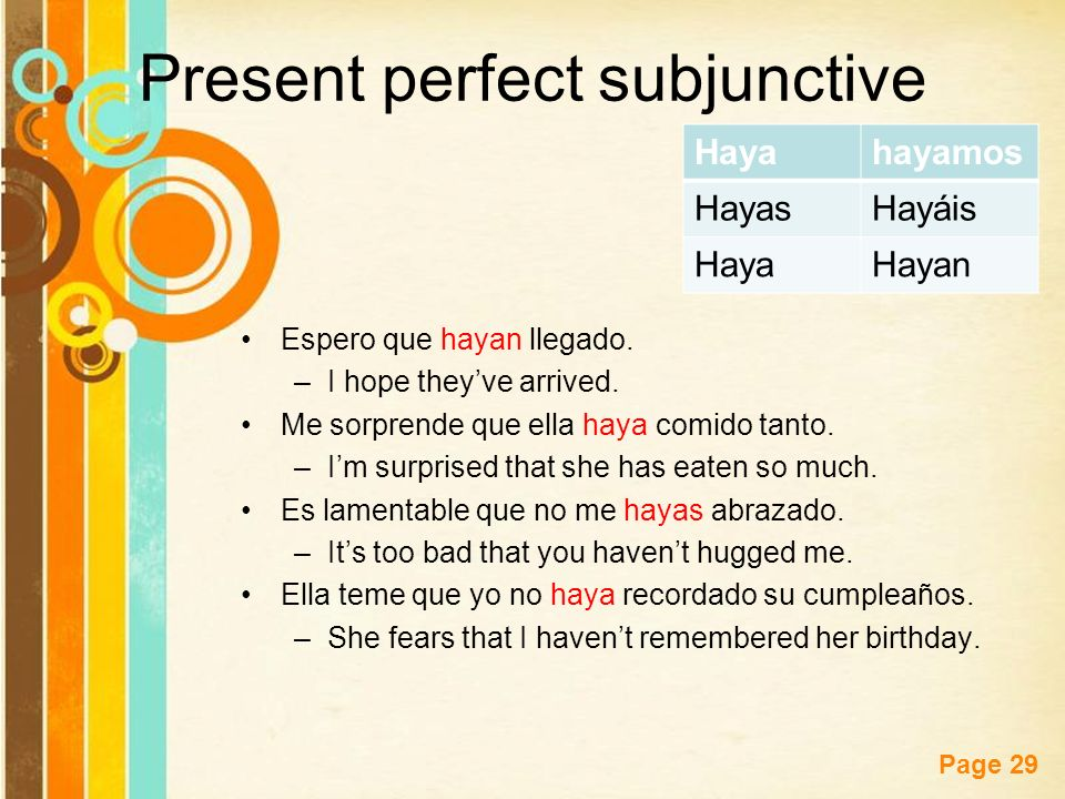 Free Powerpoint Templates Page 29 Present perfect subjunctive Espero que hayan llegado. –I hope theyve arrived. Me sorprende que ella haya comido tant