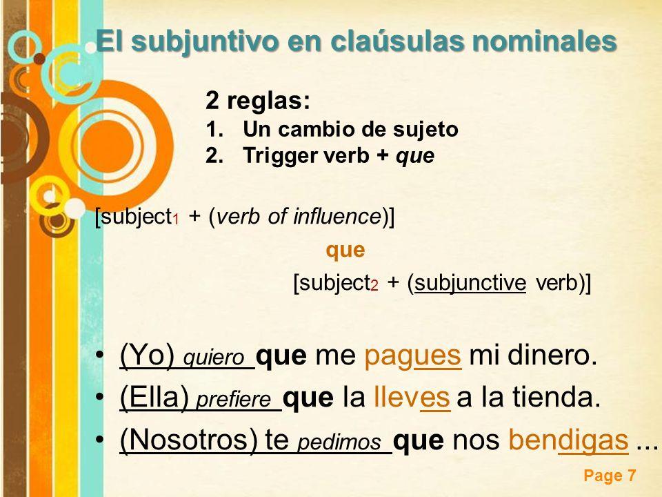 Free Powerpoint Templates Page 7 El subjuntivo en claúsulas nominales [subject 1 + (verb of influence)] que [subject 2 + (subjunctive verb)] (Yo) quie