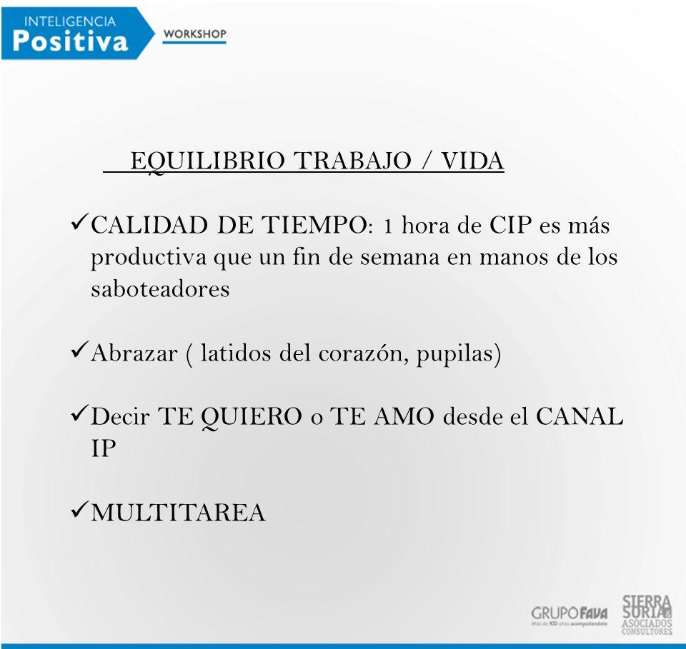 EQUILIBRIO TRABAJO / VIDA CALIDAD DE TIEMPO: 1 hora de CIP es más productiva que un fin de semana en manos de los saboteadores Abrazar ( latidos del c