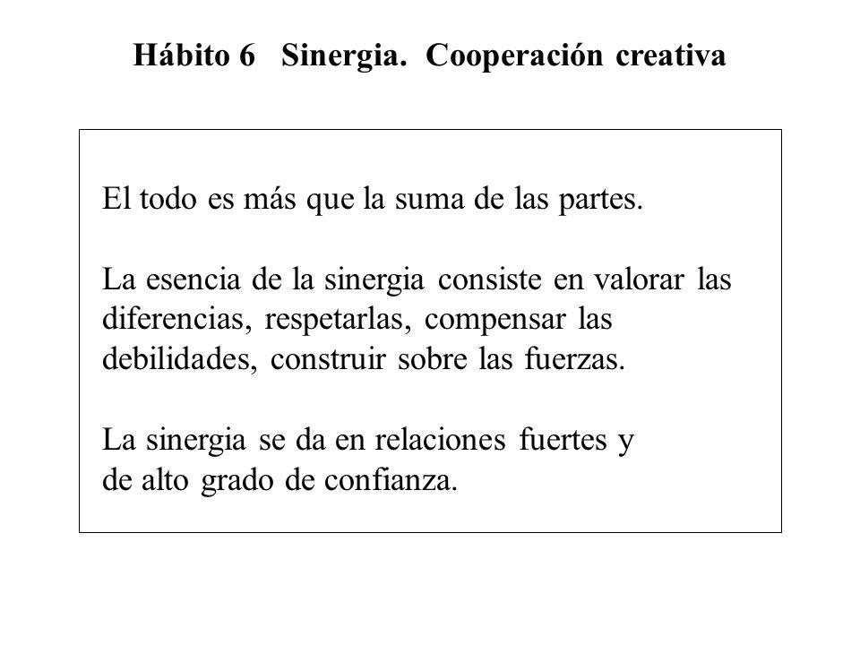 Hábito 6 Sinergia. Cooperación creativa El todo es más que la suma de las partes. La esencia de la sinergia consiste en valorar las diferencias, respe