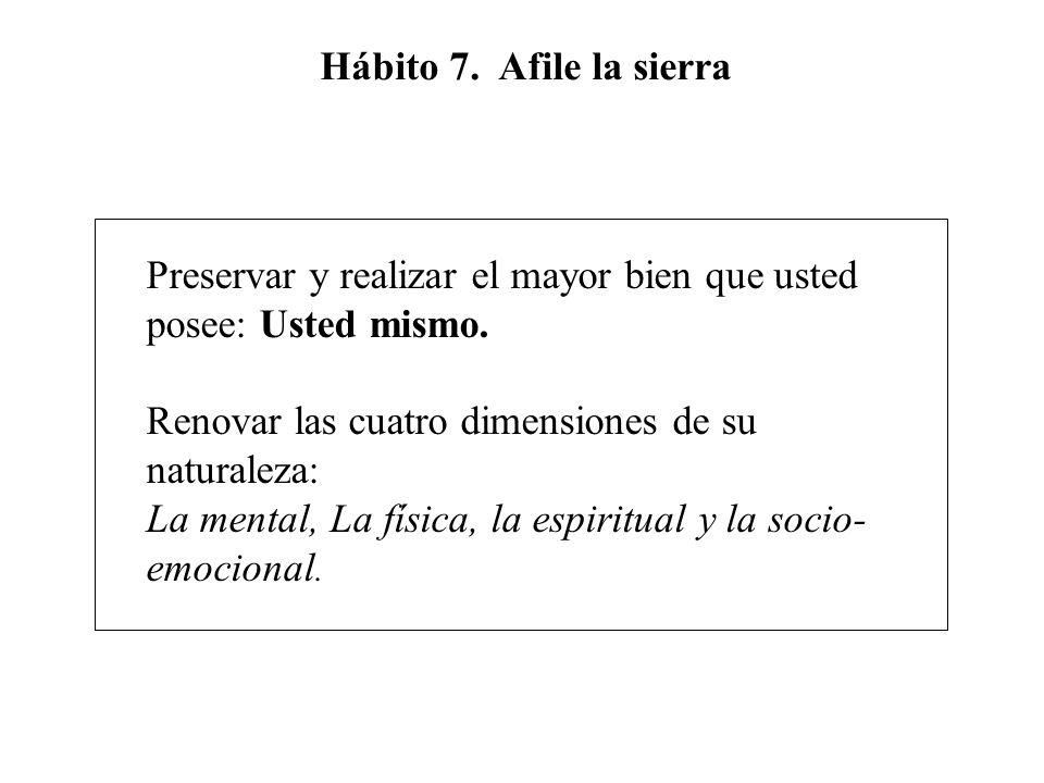 Hábito 7. Afile la sierra Preservar y realizar el mayor bien que usted posee: Usted mismo. Renovar las cuatro dimensiones de su naturaleza: La mental,