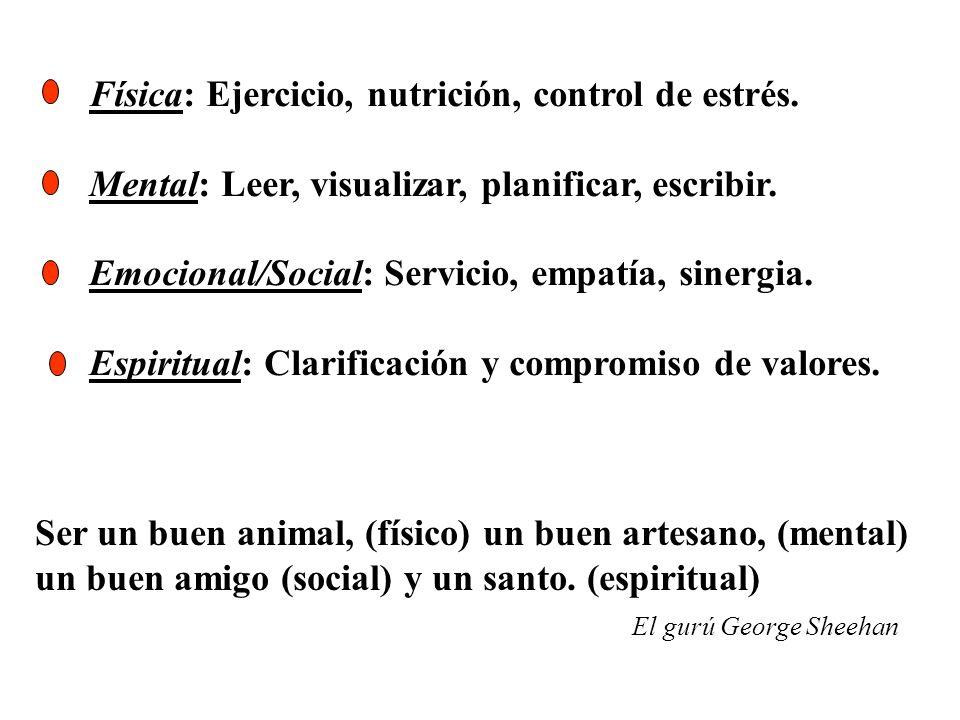 Física: Ejercicio, nutrición, control de estrés. Mental: Leer, visualizar, planificar, escribir. Emocional/Social: Servicio, empatía, sinergia. Espiri
