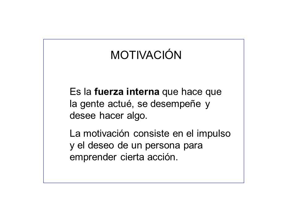MOTIVACIÓN Es la fuerza interna que hace que la gente actué, se desempeñe y desee hacer algo. La motivación consiste en el impulso y el deseo de un pe