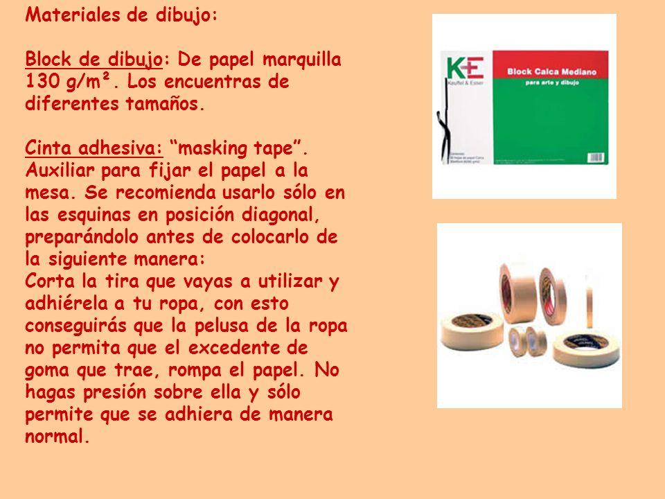 Materiales de dibujo: Block de dibujo: De papel marquilla 130 g/m². Los encuentras de diferentes tamaños. Cinta adhesiva: masking tape. Auxiliar para