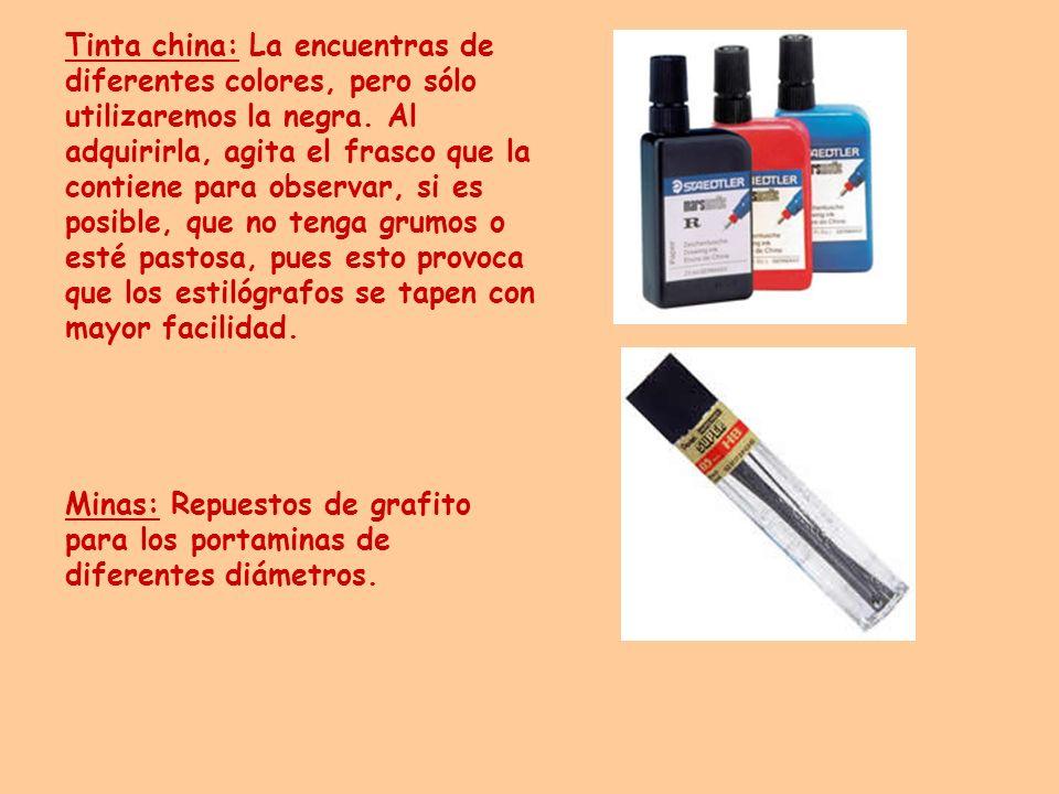 Tinta china: La encuentras de diferentes colores, pero sólo utilizaremos la negra. Al adquirirla, agita el frasco que la contiene para observar, si es