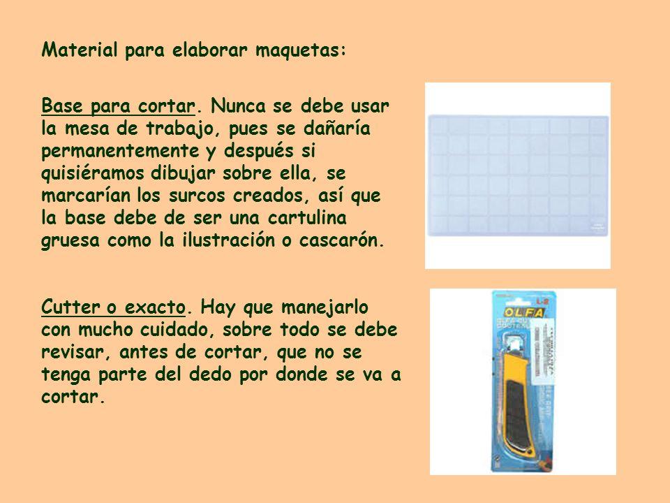 Material para elaborar maquetas: Base para cortar. Nunca se debe usar la mesa de trabajo, pues se dañaría permanentemente y después si quisiéramos dib