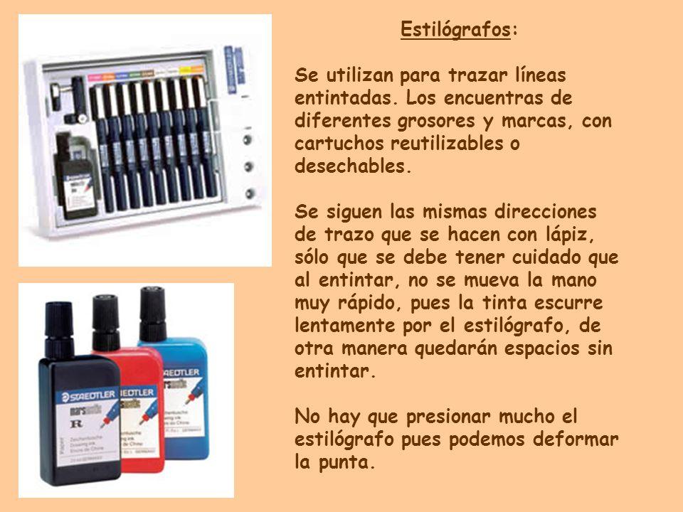 Estilógrafos: Se utilizan para trazar líneas entintadas. Los encuentras de diferentes grosores y marcas, con cartuchos reutilizables o desechables. Se