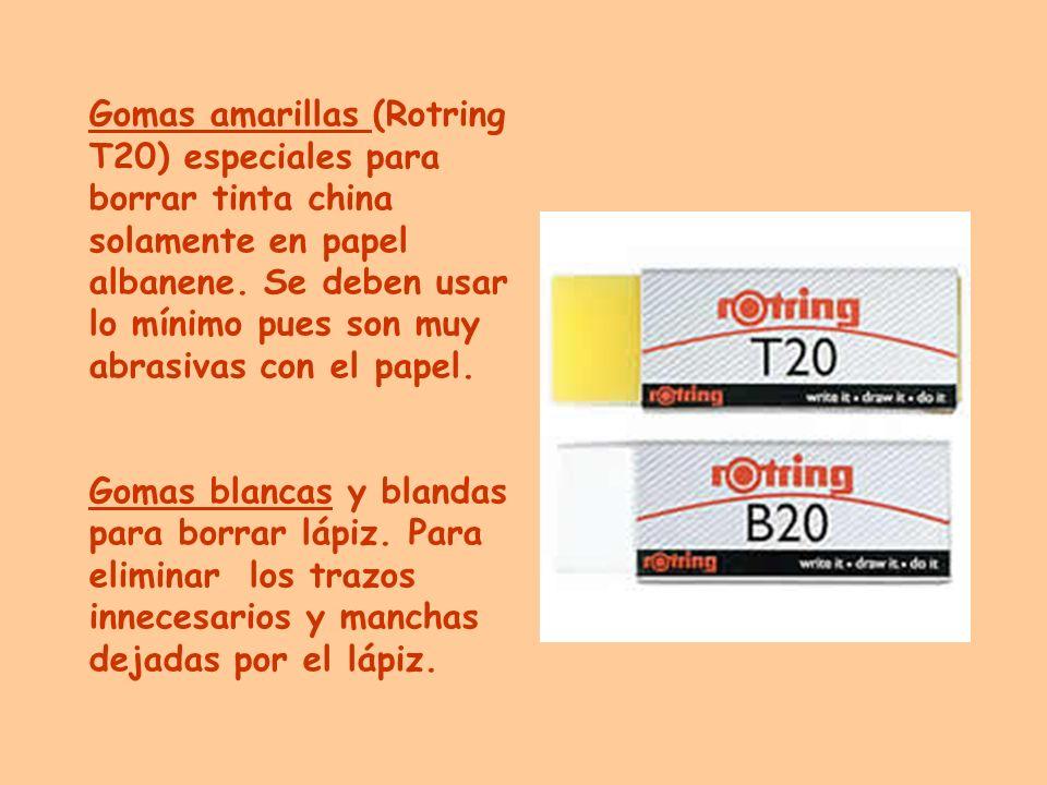 Gomas amarillas (Rotring T20) especiales para borrar tinta china solamente en papel albanene. Se deben usar lo mínimo pues son muy abrasivas con el pa