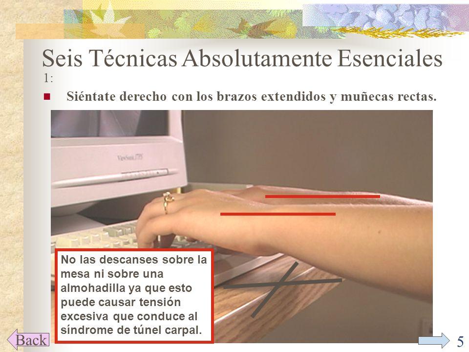 5 Seis Técnicas Absolutamente Esenciales 1: Siéntate derecho con los brazos extendidos y muñecas rectas.
